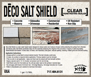 DECO Salt Shield Sealer 1 gal. (Shipping Incl.) Waterproofing concrete, spalling, concrete dusting, decreased permeability, reduces mildew growth, sidewalk damage, penetrating sealer